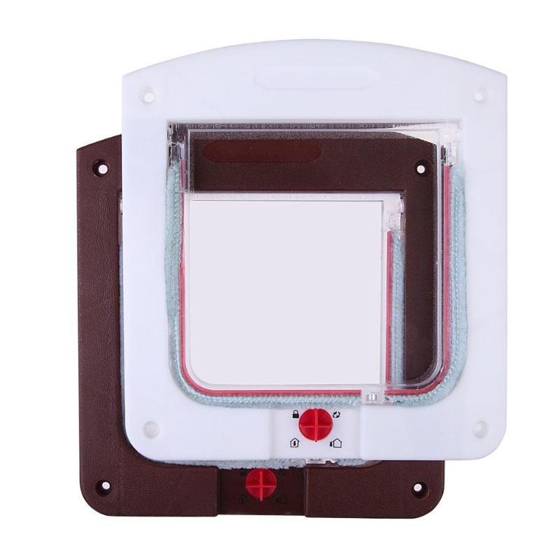 New Dog Cat Pet Door Security Flap Door Abs Plastic Animal Small Pet Cat Dog Gate Door Pet Supplies