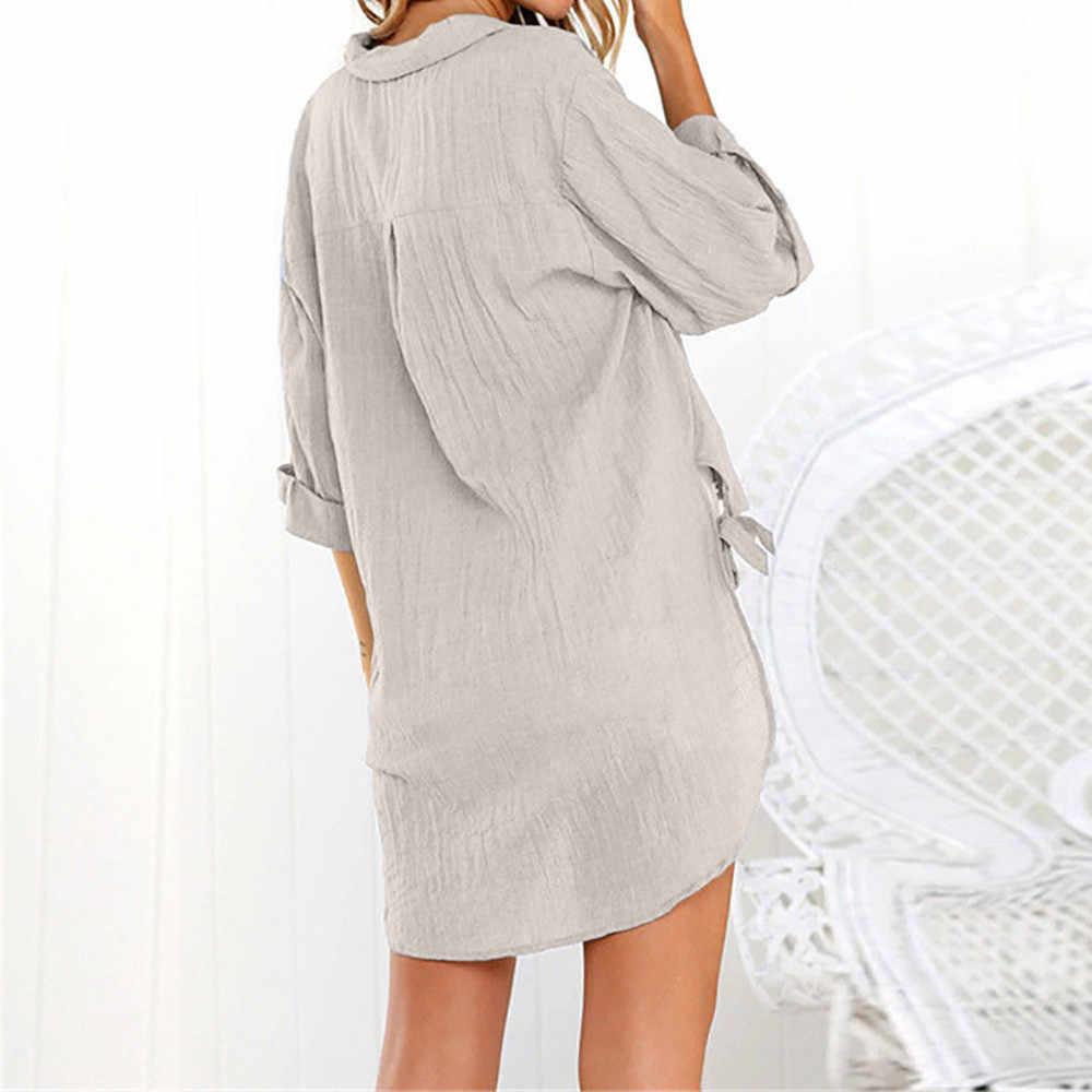 المرأة عارضة فضفاض الكتان بلوزة طية صدر السترة أزرار الصلبة طويلة قميص السيدات نصف كم انقسام الانحناء أعلى #10