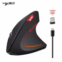 HXSJ vertical mouse 2.4G wireless rechargeable built-in 600 mA battery adjustable 2400dpi suitable for office games