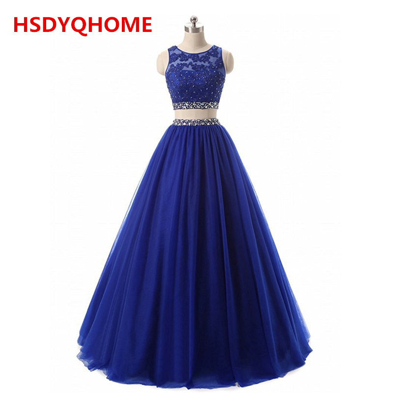 HSDYQHOME   Evening     Dresses   2 Pieces Sexy Prom   dress   O-Neck beaded formal   Evening   gowns Royal blue   dress   hot sell
