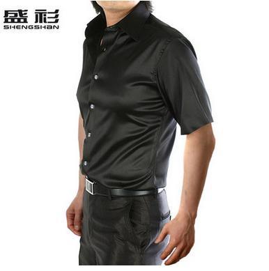 Новое поступление, летняя стильная шелковая Повседневная однотонная мужская рубашка с коротким рукавом, трендовая модная повседневная рубашка из искусственного шелка - Цвет: black