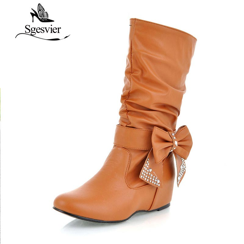 SGESVIER Women Snow Boots Half Knee Rhinestone Bowtie Sexy Winter New Boots Wedge Heel Shoes Short Boots Big Size 34-47 OX001 sgesvier warm snow boots ankle boots high heel wedge boots retro round toe slip on casual shoes winter shoes for women ox148