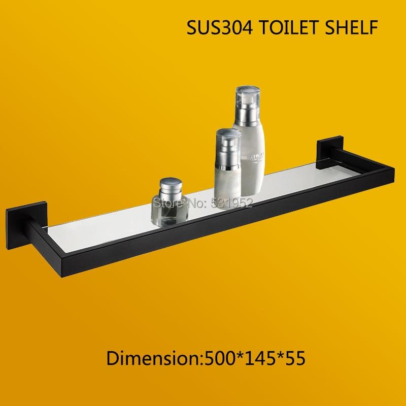 2017 New Design Black Bathroom Shelf With Glass 304 Stainless Steel Toilet Shelf Bathroom Kitchen Bathroom Shelves Easy Install 304 stainless steel 280 140 500mm bathroom shelf bathroom products bathroom accessories 29016