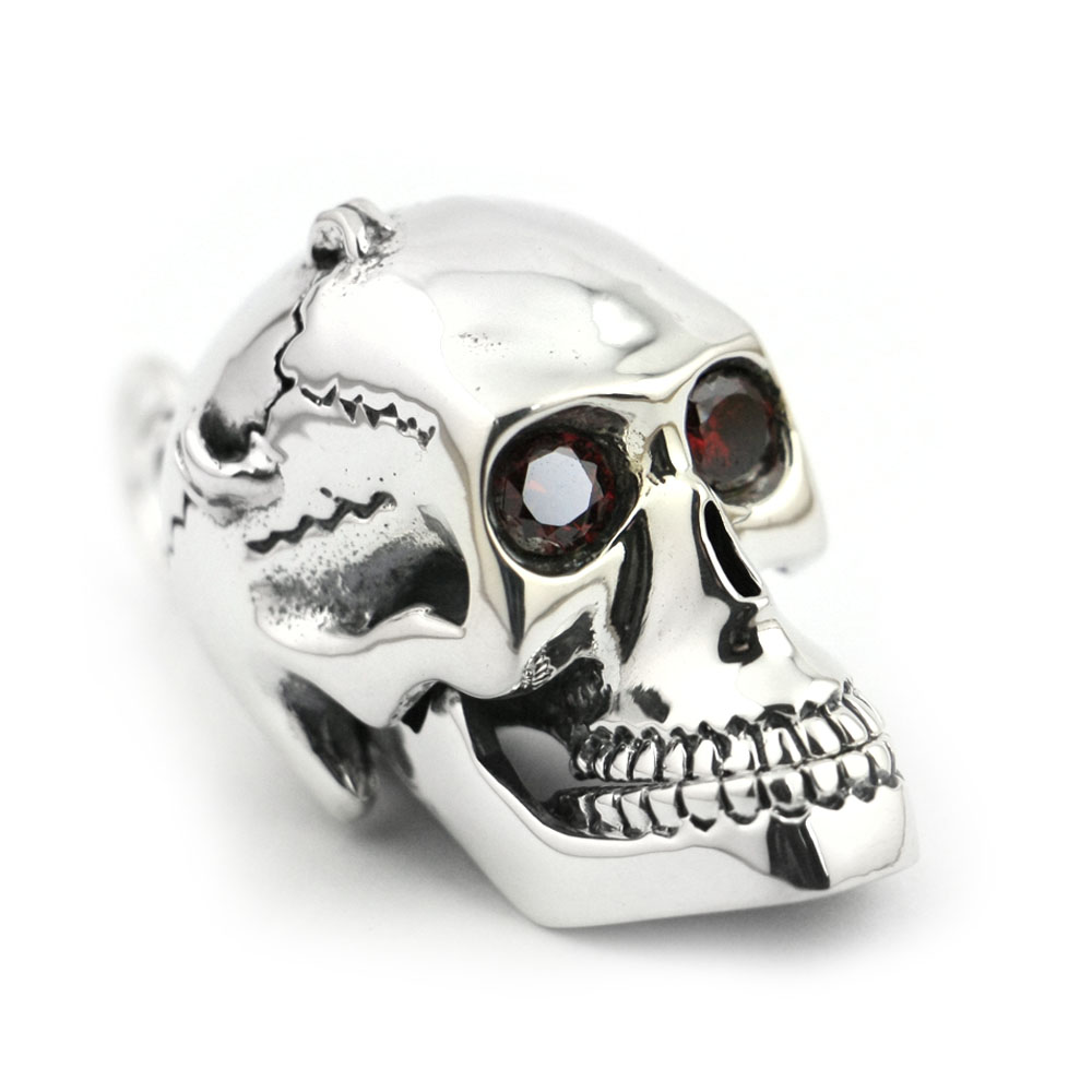LINSION Solid 925 Sterling Silver Red CZ Eyes Skull Mens Biker Rock Punk Pendant 8C013 цены онлайн
