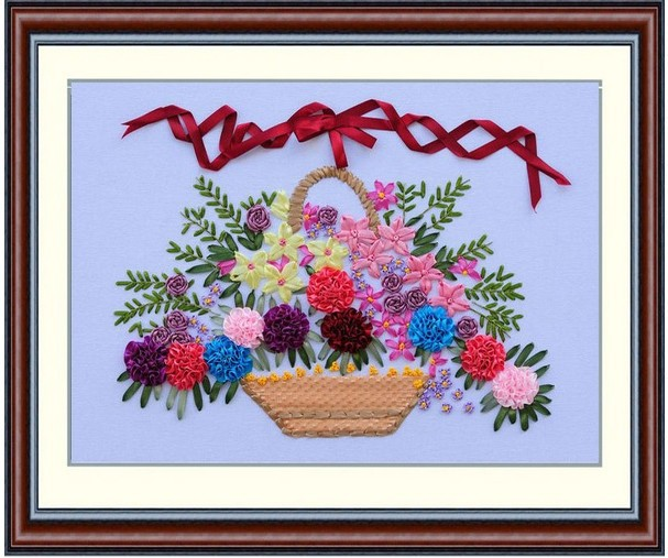 Flower basket silk ribbon embroidery kit flowers bouquet cross flower basket silk ribbon embroidery kit flowers bouquet cross stitch set handcraft bag diy handmade embroidery mightylinksfo
