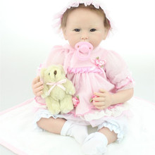Free Shipping 22 Inch Cute Reborn Baby Girl Dolls Realistic Silicone Reborn Babies With Big Eyes Lifelike Newborn Baby Kids Toys