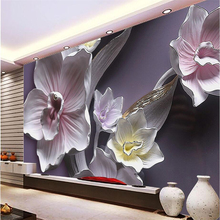 beibehang Custom Wallpaper Home Decorated Living Room Bedroom Mural 3D Relief Large Orchid TV Background Decorative 3d wallpaper beibehang large custom wallpaper mathematical formula blackboard mural tv background living room wall decorative