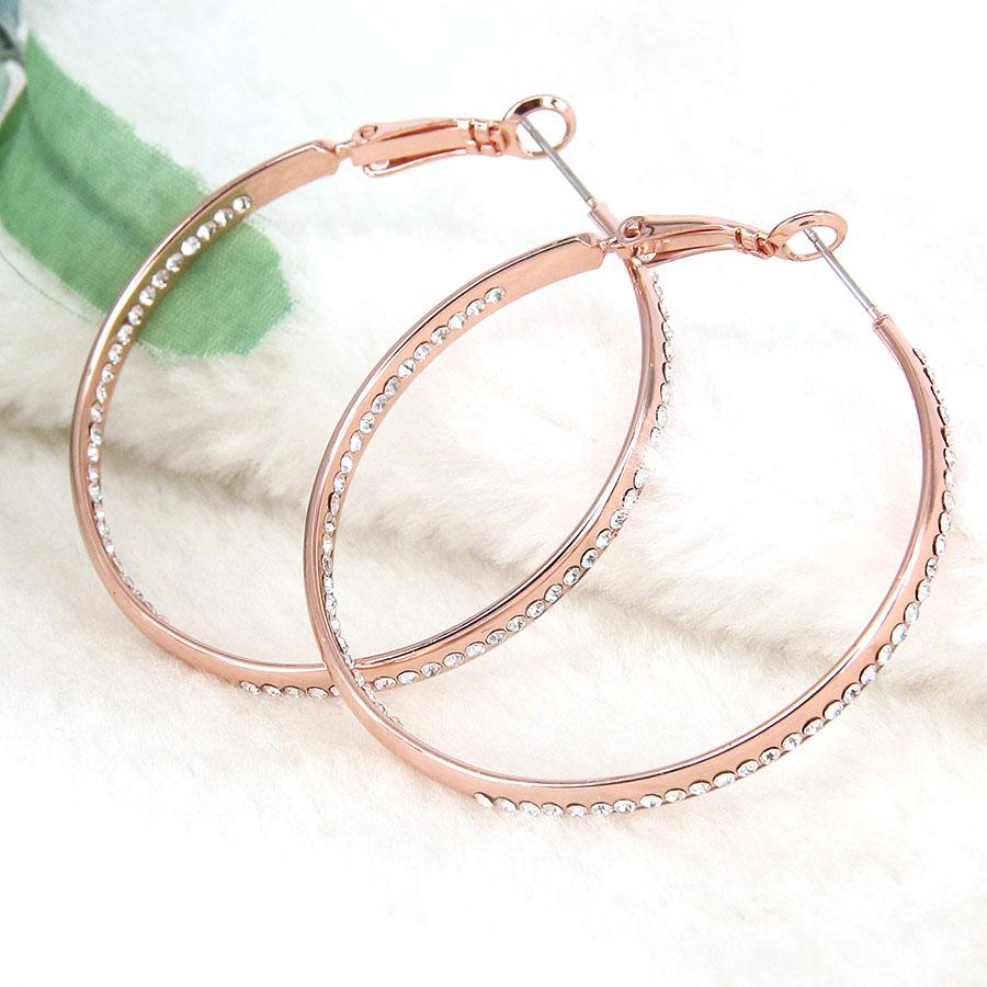 Hoop Earrings Femme Rose Gold Color Round Fashion Austrian Crystals Rhinestone For Women S Large Trendy Bijoux In From