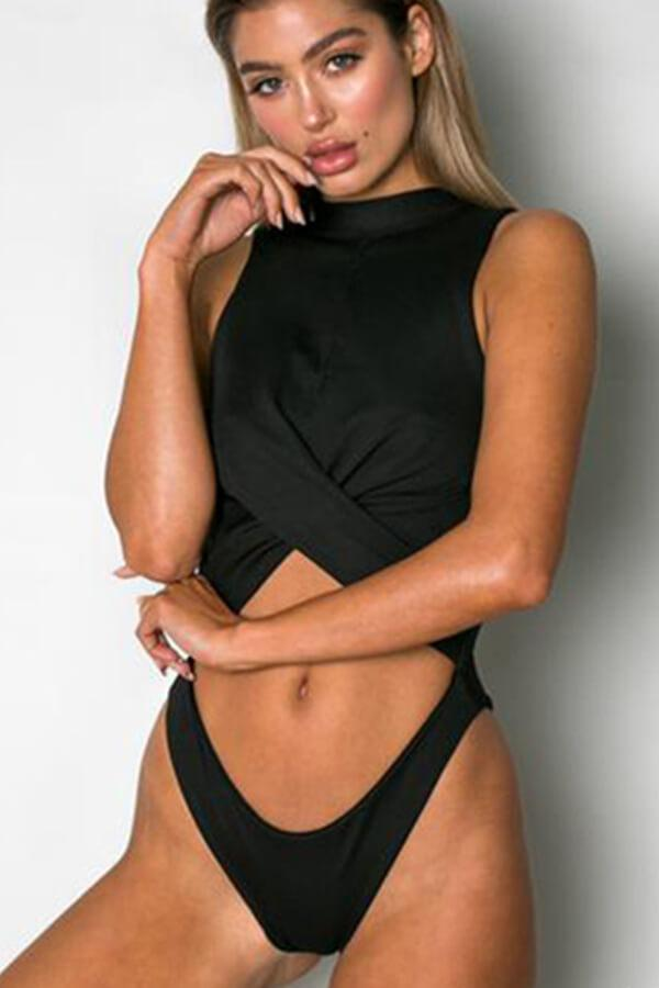 108e6d6a46695 Floralkini Wrap Cut Out Front High Neck One Piece Monokini High Cut  Swimsuit Sexy Women Push Up Backless Swimwear Bathing Suit-in Body Suits  from Sports ...