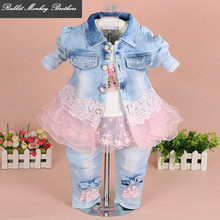 baby girl clothes new spring autumn baby suits newborn girls denim gauze lace three piece set