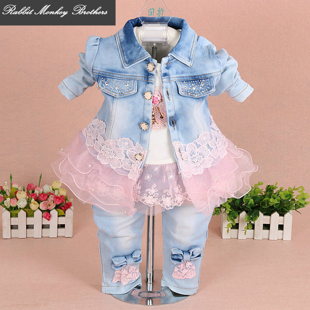 a3ed4bb77e58 baby girl clothes new spring autumn baby suits newborn girls denim gauze  lace three piece set suit for infant baby girl outfit.