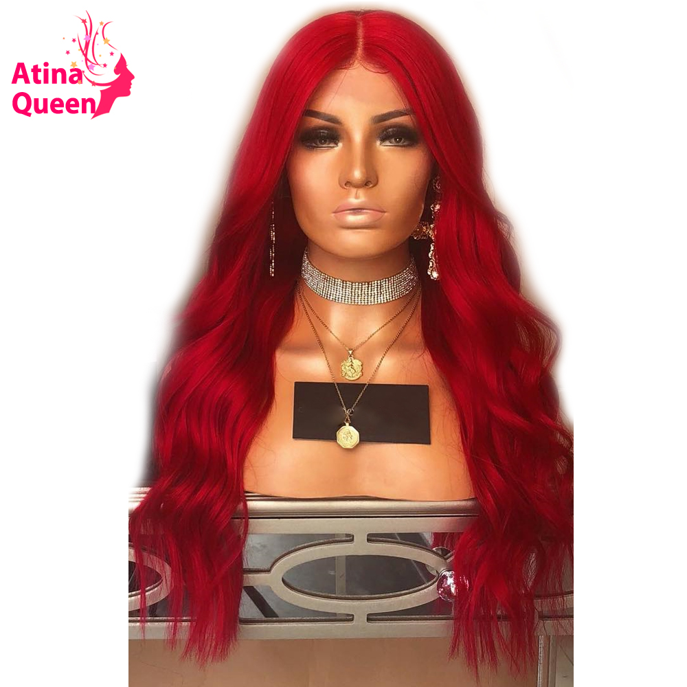 Red Lace Front Human Hair Wigs with Baby Hair 180 Density Ombre Human Hair Wig For