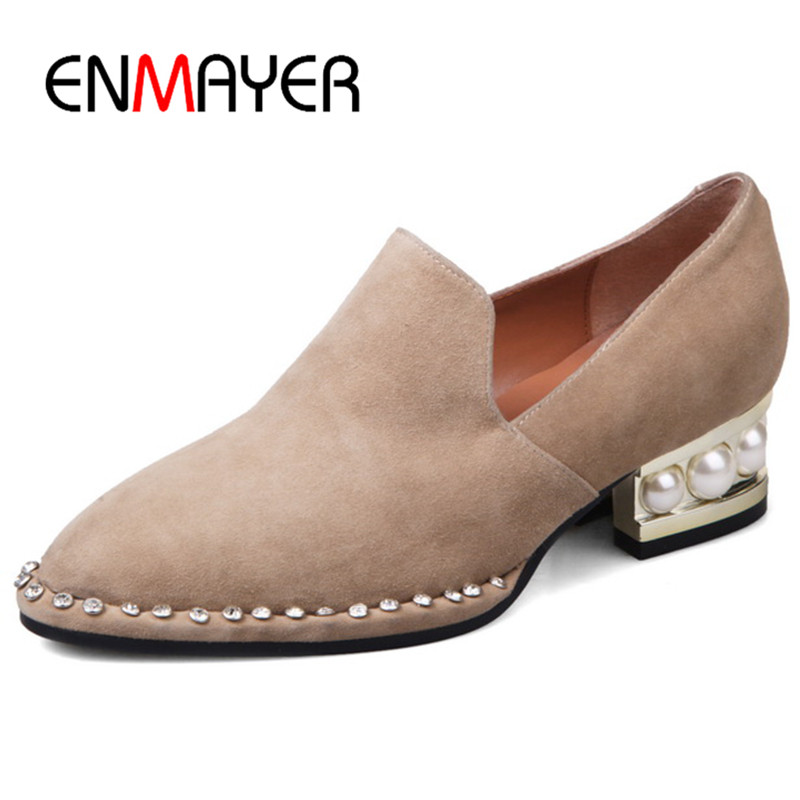 ФОТО ENMAYER Crystal Charms Pumps Shoes Woman Low Heels Women Shoes 2017 Plus Size 34-43 Loafers Poined Toe Summer Shallow Pumps