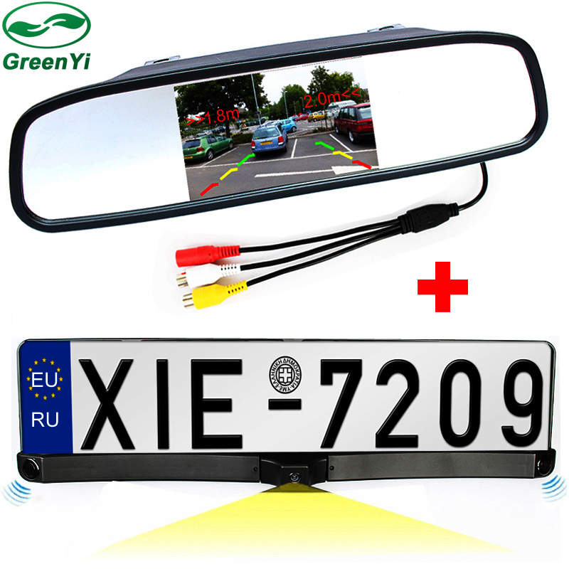 "2in1 4.3"" Auto Parking Mirror Monitor + HD CCD European Russia License Plate Frame Car Rear View Camera With 2 Radar Sensors-in Vehicle Camera from Automobiles & Motorcycles    1"