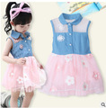 2016 summer girls dress denim gauze tutu baby girls lapel sleeveless denim vest embroidered veil