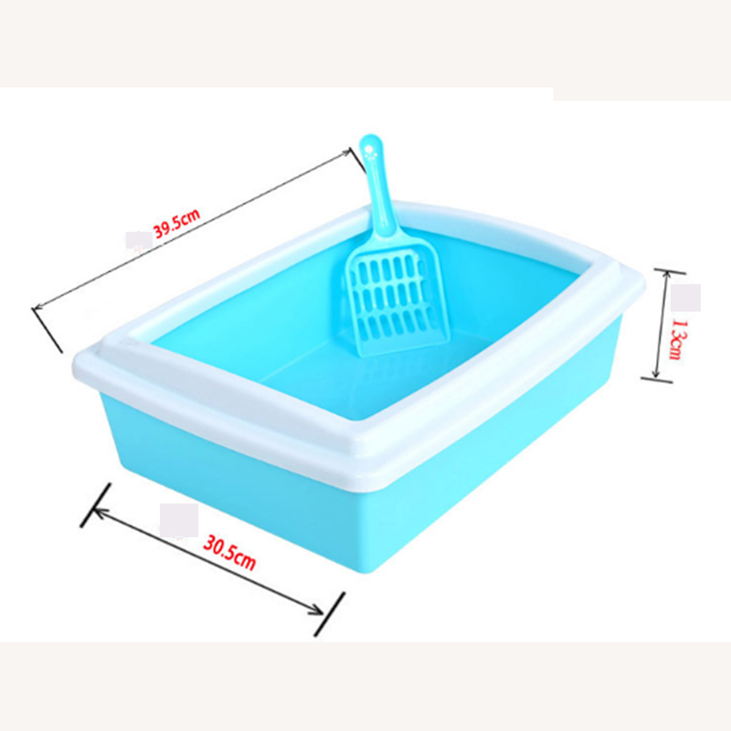 VOVOPET Cat Bedpans Semi Closed Anti splash Square Kitten Puppy Rabbit Toilet Portable Solid Plastic Cats Litter Box in Cat Litter Boxes from Home Garden