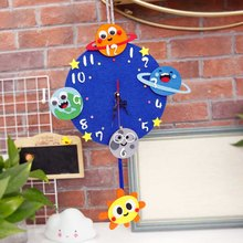 Handmade Craft Kit Space Style Wall Hanging Clock Kids's Room Decoration Planet Practical Wall Clock DIY Craft Boy Birthday Gift