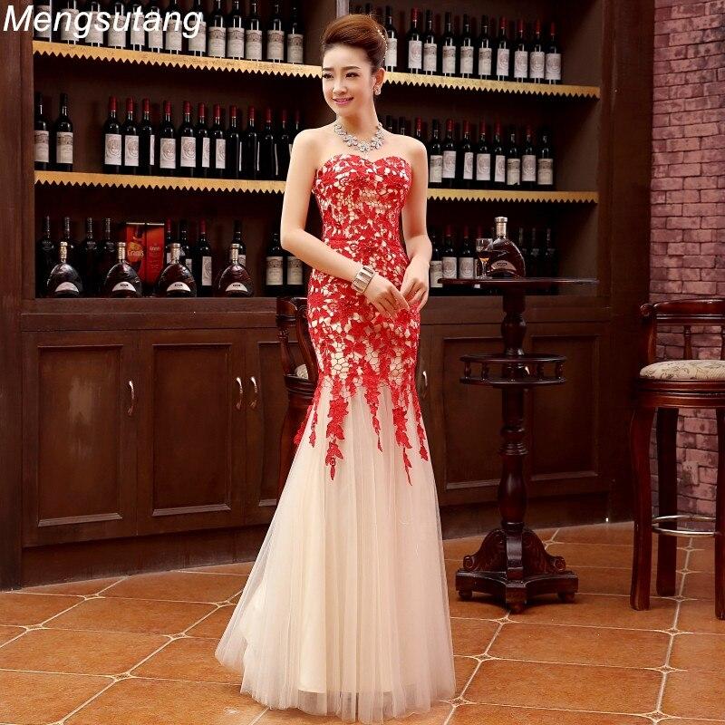 Robe De Soiree 2019 Red Lace Up Long Slim Lace Mermaid Off Shoulder Evening Dress Vestido De Festa Prom Dresses Ombre Dress
