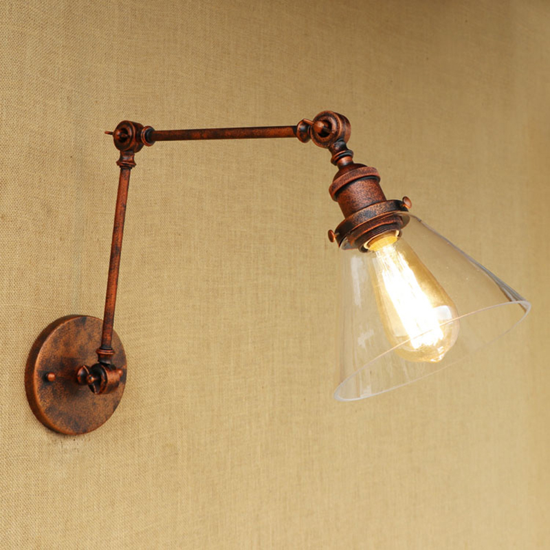 Modern bedroom metal wall light Industrial CLEAR GLASS lampshade free adjust long swing arms for living room restaurant bar E27 vintage industry loft e27 bedroom wall light wall lamp clear glass lampshade free adjust long swing arms for living room