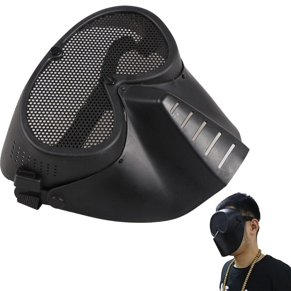 Cs Masque Protecteur De Visage Pour Tir à L'arc Tactique Jeu De Plein Air étiquette De Sécurité Protecteur Noir Maille Chasse Partie Garde Arc RéSistance Au Froissement