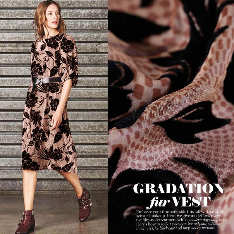 Nouveau 114 cm de large 150 g/m creux brûlé velours soie tissu soie velours vêtements mode robe tissu
