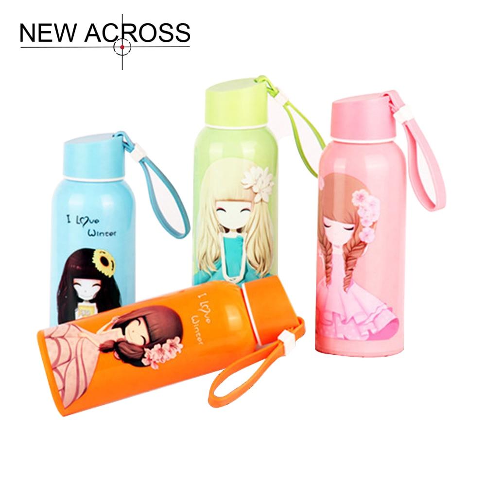 JUHD 1Pcs 300ml Pretty Girl Student Water Bottle Cartoon Fall Proof Portable Anti Scald Bottle Nice Gift Customized In Bulk