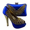 Senhora africano de casamento italiano e sapatos de mulher jogo, Azul cor frete grátis HYX1-3
