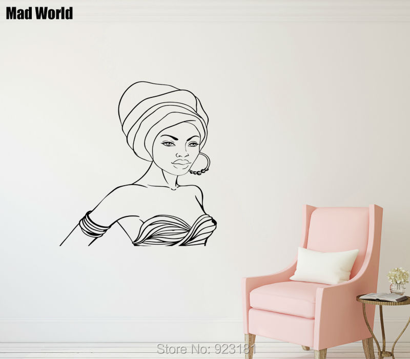 Hot African Girl Woman Female Coolest Wall Art Sticker Decal Home DIY Decoration Wall Mural Removable Room Decor Sticker 60x57cm