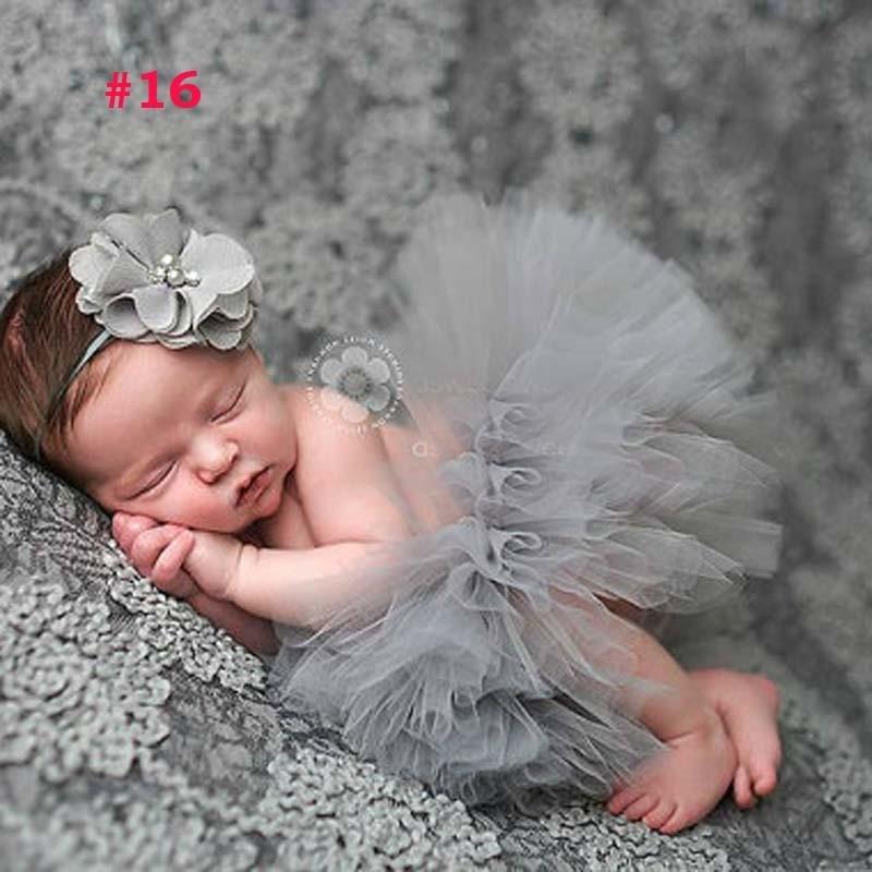 Лидер продаж; фатиновая юбка-пачка для маленьких девочек и повязка на голову с цветами; Комплект для новорожденных; реквизит для фотосессии; подарок на день рождения; 10 цветов; ZT001 - Цвет: Skirt and Headband 8