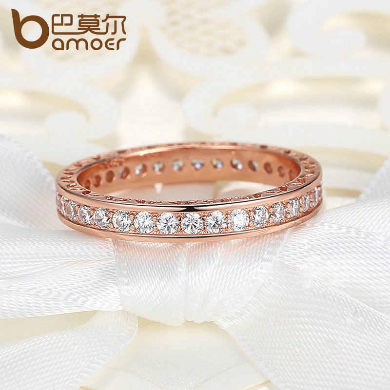 BAMOER Classic งานแต่งงานแหวนนิ้วมือ Rose Gold สีแหวน Zircon ความกว้าง 3 มม. แหวนแฟชั่นเครื่องประดับ PA7215