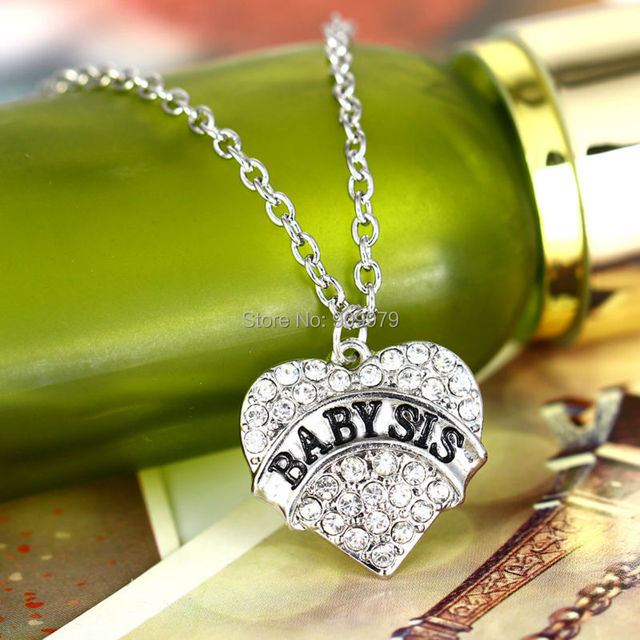 Aliexpress buy fashion silver chain crystal heart girl baby fashion silver chain crystal heart girl baby sis sister pendant necklace rhinestone charm necklaces family party mozeypictures Image collections