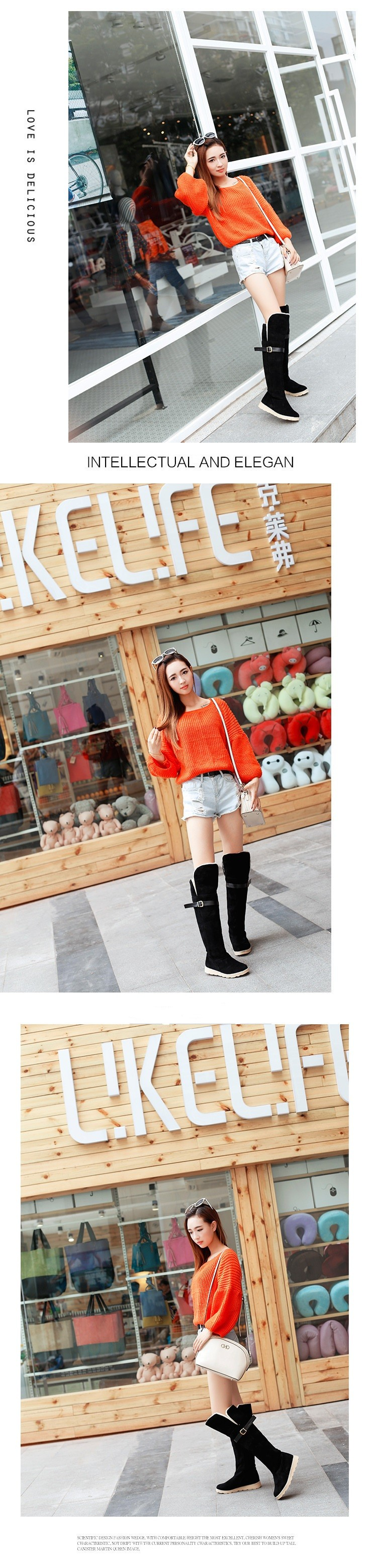 2015 Hot Sale Winter Boots Warm Snow Boots For Women Fashion Flat Heels Knee-High Botas Mujer Casual Women Shoes BT4 (2)