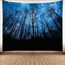 цены на Shiny Night Durable Wall Hanging Beautiful Forest Starry Sky Natural Scenery Pattern Tapestry Bedroom Home Decor Art  в интернет-магазинах