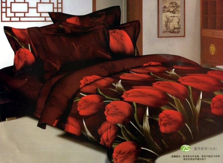 Deep Brown Red Tulip Floral Bedding Comforter Sets Queen