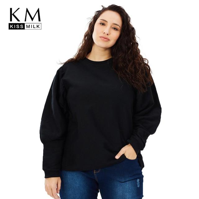 4b659f32b3 Kissmilk 2018 Plus Size Solid Black Women Sweatshirts Big Size O-Neck Long  Sleeve Female