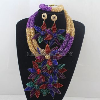 Shinny Colorful Flower Pendant Statement Necklace Set Purple/ Bridal Beads Costume African Jewelry Set Free Shipping HD7666