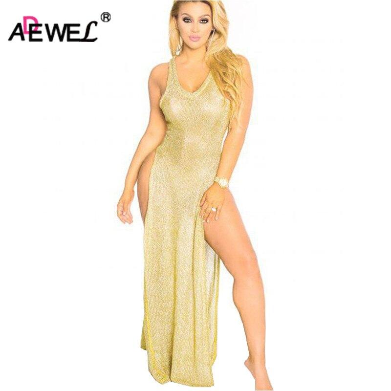 ADEWEL Sexy High Split See Through Knitted Women Floor Long Club Dress Hollow Out Bodycon Maxi Dress Night Clubwear see through mesh patchwork bodycon dress