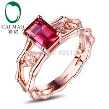 14k Rose Gold 1.24ct Pink Tourmaline Natural Diamond Engagement Ring Fine Jewelry