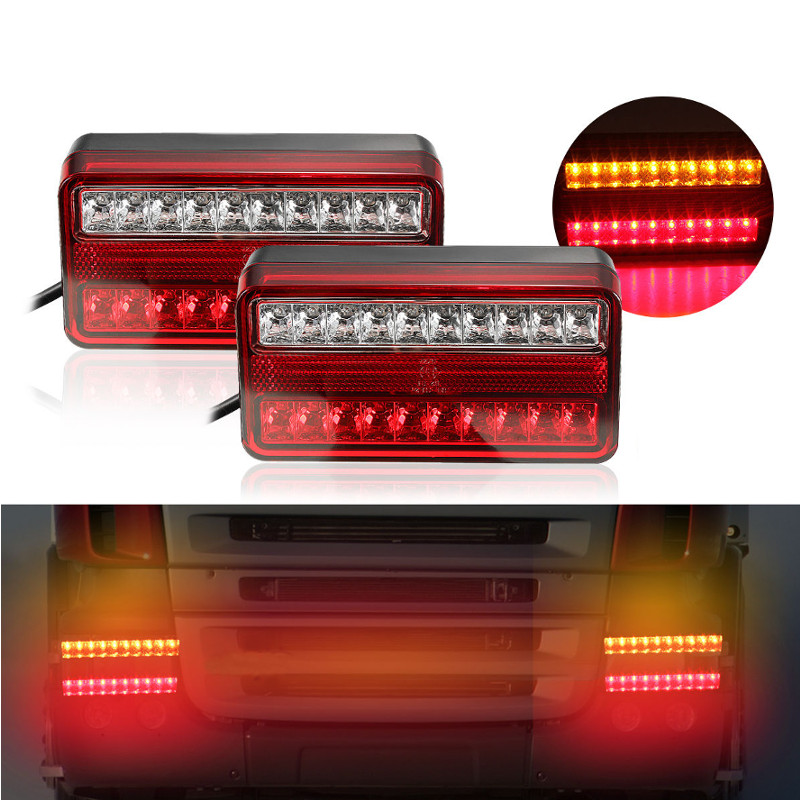 2pcs 20 LED 12V Tail Light Waterproof Car Truck Trailer Camper Van Stop Brake Rear Reverse Indicator Lights Turn Signal Lamp vehemo 12v 40 led truck car trailer rear tail light stop indicator turn signal lamp