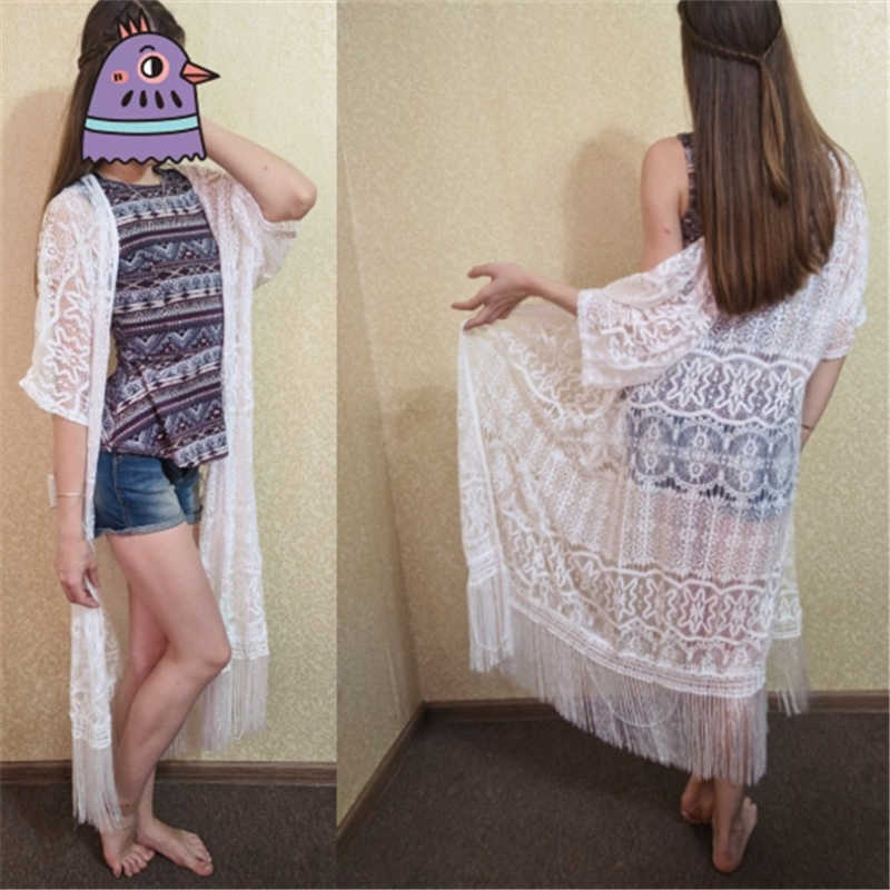ビーチブラウス 2019 フルプラスサイズ着物白ボヘミアンブラウス女性の夏のヴィンテージブラウスセクシーな中空アウトチュニックブラウス # n405