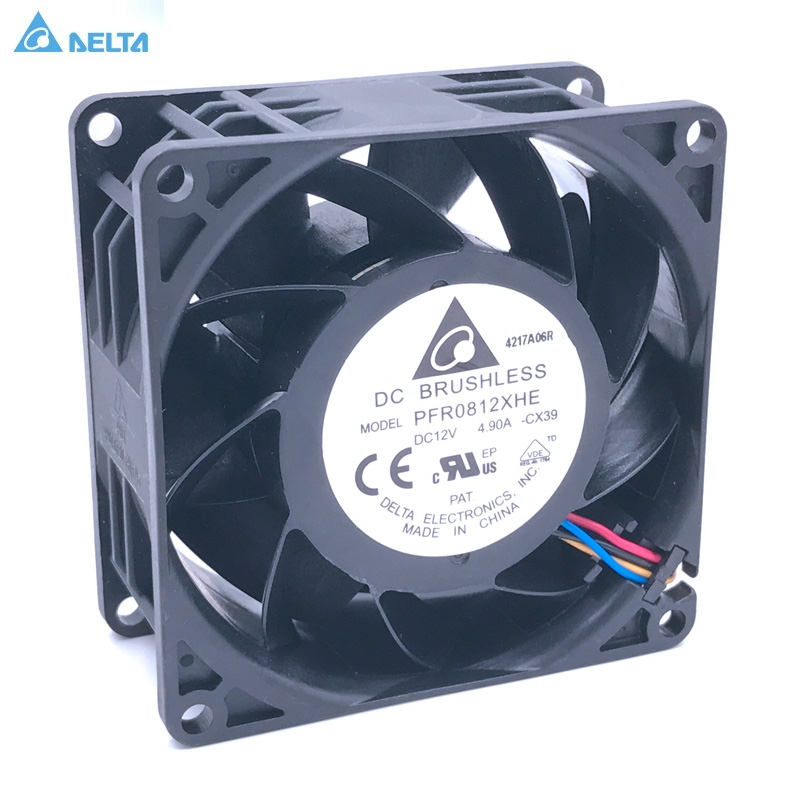 Delta PWM cooling fan 8038 PFR0812XHE 80*80*38mm DC12V 4.9A 13300RPM 140CFM 4-Pin delta ffb0824vhe 8038 dc 80 80 38mm dc 24v 0 25a 4200rpm 57 21cfm cooling fan