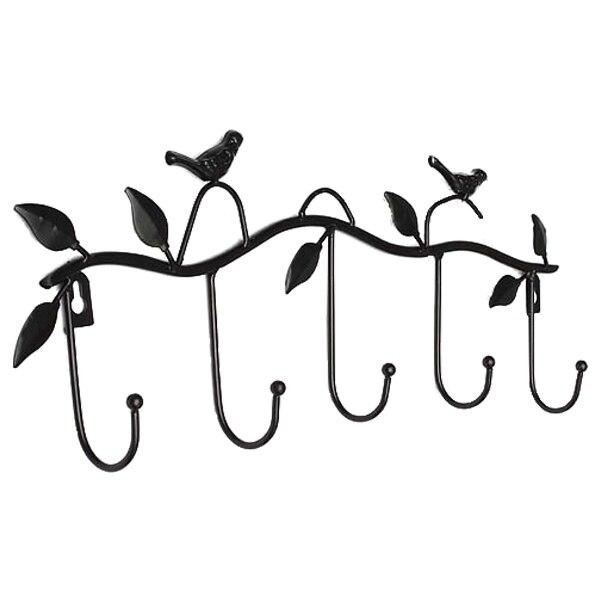 CNIM Hot Iron Birds Leaves Hat/Towel/Coat Wall Decor Clothes Hangers Racks With 5 Hooks Black