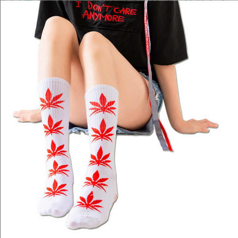 Moda Socmark ตลกถุงเท้าผู้ชายสบายผ้าฝ้ายคุณภาพสูงกัญชาแฮปปี้ Maple Leaf ลำลองยาววัชพืชถุงเท้าลูกเรือชุด Harajuku