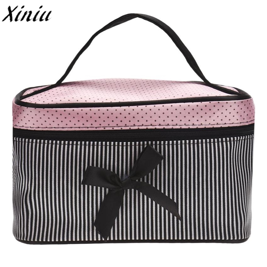 Cosmetic Bag Square BowMakeup Organizer Dots Printing Stripe Satin Travel Wash Storage Bag Hot Sac A Main #7104