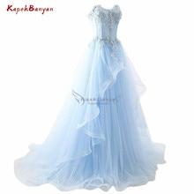 Prom Long Elegant Dresses Applique Lace-up Light Blue Prom Dress Ruffle Sweetheart Sweep Train Sheer Tulle Vestidos De Fiesta