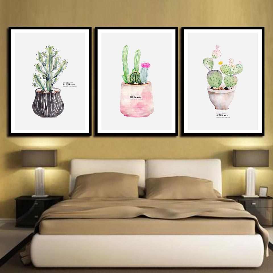 Акварель кактус растения горшок картины на стену ПЕЧАТЬ Плакаты на скандинавскую тему современный холст горшечные картины для гостиной домашний декор