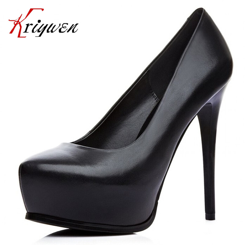 2015 Lady Evening Spring Royal Footwear Red Black Pumps Round toe shallow sexy Summer genuine leather ultra thin High Heel Shoes - Kriywen Store store