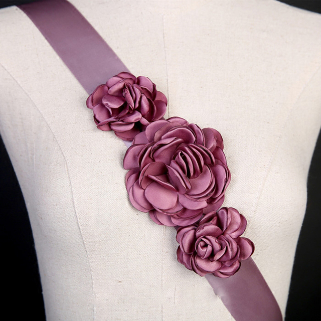 In Stock Wedding Belts and Sashes Purple bruids riem Vintage Cheap Wedding Accessories Flowers Decoration 2016