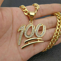 Golden Emoji 100 Logo Pendant Necklace for Men Gold Color Iced Out Rhinestone Stainless Steel Necklace Hiphop Jewelry