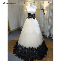 White Evening Dresses With Black Lace Appliques Custom Made Floor Length Prom Party Gown Robe De